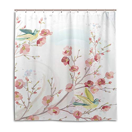 Abaysto Watercolor Pink Peach Blossom Yellow Bird Spring Home Decor Shower Curtain Sets with Hooks Polyester Fabric Great Gift