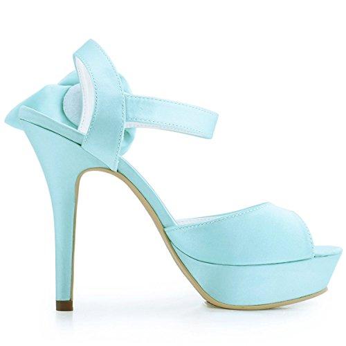 Hebilla Flores Mujer Zapatos Menta EP2063 Toe Boda Plataforma PF ElegantPark Satén de Aguja Tacón Peep de zgvCE