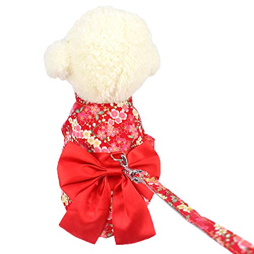 Cuteboom Dog Sakura Dress Pet Japenese Kimono Clothes Small Dog Costume Festival, Party and Halloween Skirt(Red,L) -