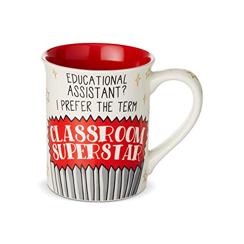 Enesco 6003388 Our Our Name is Mud Educational Assistant Classroom Superstar Coffee Mug, 16 oz, Multicolor ()
