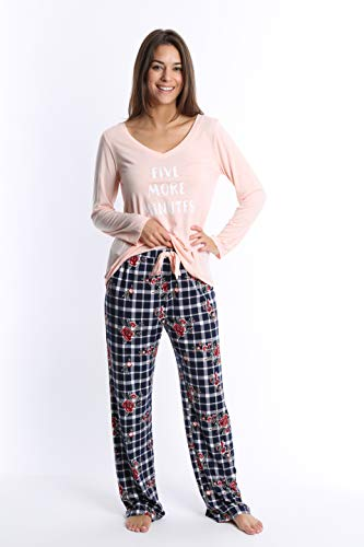 WallFlower Women's Pajama Pant Set - Long Sleeve Sleep Shirt & PJ Lounge Bottoms - Pale Blush W. Floral Plaid, Large by WallFlower