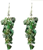 Reiki Crystal Products Emerald Earrings Natural Chip Beads Earrings for Women, Girls (Green)