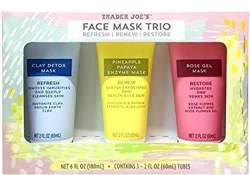 Trader Joe's Face Mask Trio Refresh Renew Restore Clay Detox Mask, Pineapple Papaya Enzyme Mask, Rose Gel Mask 3 Pack - Each Tube 2 FL Oz ()