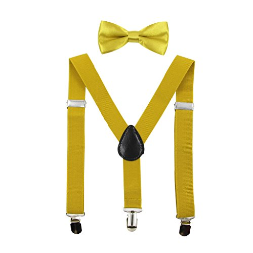Hanerdun Kids Suspender Bowtie Sets Adjustable Suspender With Bow Ties Gift Idea For Boys And Girls,Gold,One Size