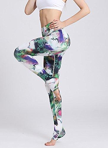 Stampa Pantaloni Moda Pantalone Running Yoga Veloce Tights Donna Elastico Women Fitness Asciugatura Skinny Fiore Leggings Giovane Verde Calzamaglia Training Grazioso Sportivi rnxxIwOq