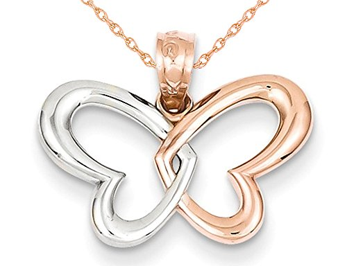Open Butterfly Heart Pendant Necklace in 14K Rose Pink Gold with Chain