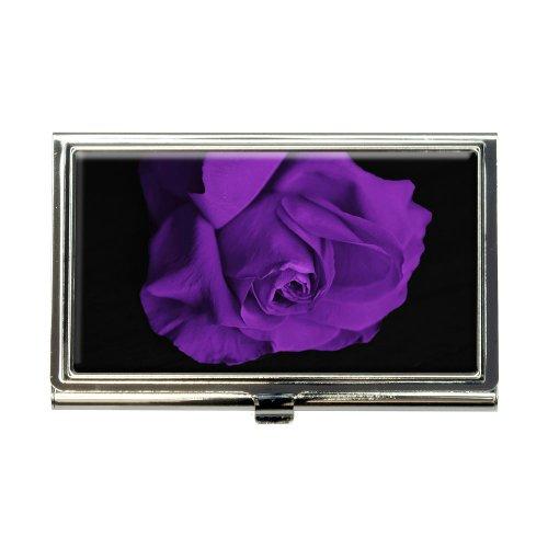 Rose Flower Purple Petals Business Credit Card Holder Case