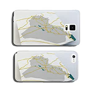 map of Iraq, Iraqi state, boundaries, roads and cities cell phone cover case iPhone6