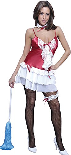 Women's French Maid Costume 4 Pieces Set #C011/x (S/m-3x/4x) (3X/4X, Red)