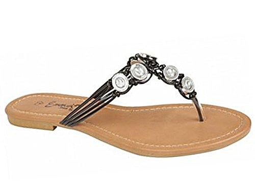 Ladies Girls Rashida/ Iris Flip Flop Casual Toe Post Jewelled Slip On Wedge Flat Beach Holiday Sandal Shoes Size 3-8 Iris:Black 7ujWFCfq