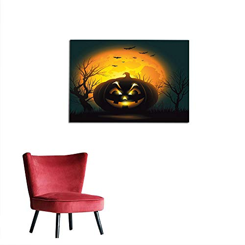 kungfu Decoration Wall Paper Halloween,Fierce Character Evil Face Ominous Aggressive Pumpkin Full Moon Bats,Orange Dark Brown Black Cool Poster W31.5 x -