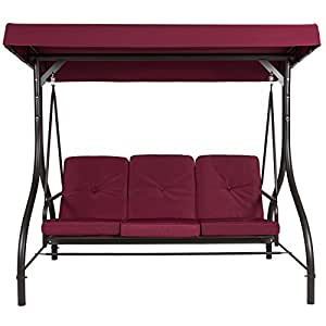 T-foot 3 Seats Converting Swing Canopy Hammock Patio Deck Furniture Outdoor Burgundy