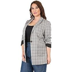 Standards & Practices Plus Size Black Pink Plaid Single Button Relaxed Blazer Size 1X