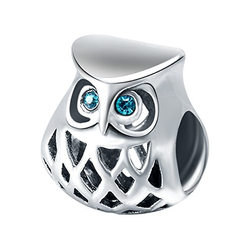 925 Sterling Silver Charms for Bracelets (Cute Owl)
