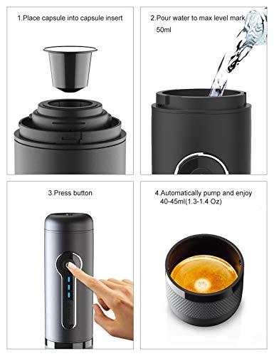 CONQUECO Tragbare Espressomaschine reise Siebtraeger Automatische Kaffeekapselmaschine Ein-Knopf-Bedienung BPA-frei für…