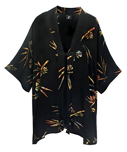 Kimono PLUS SIZE Caftan Cardigan, Plus Sizes XL-2X and 2X-4X, Oriental Inspired Jacket with Chinese Button Knot, Hand Batik Fabric, Art Wear PLUS SIZE Clothing for Full Figures, CUSTOM (Inspired Batiks)