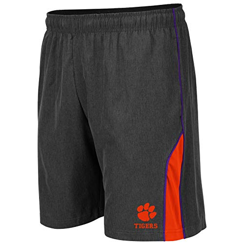 Colosseum NCAA Mens Basketball Shorts - Athletic Running Workout Short-Charcoal with Team Colors-Clemson Tigers-XL -