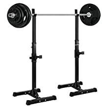 Ollieroo Barbell Rack 2PCS Gym Family Fitness Adjustable Squat Rack Independent Weight Lifting Bench Press Stands