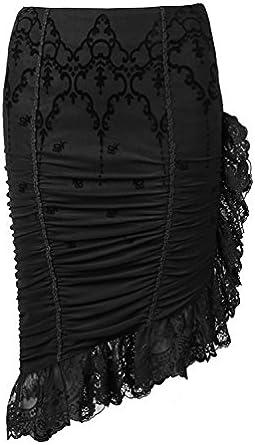 Falda negra asimétrica bordes encaje y diseño vintage aristócrates ...