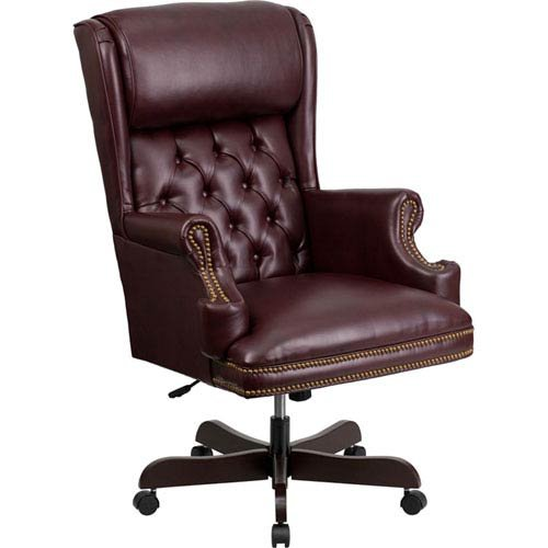 Parkside High Back Traditional Tufted Burgundy Leather Executive Swivel Office (Burgundy Leather Traditional Executive Chair)
