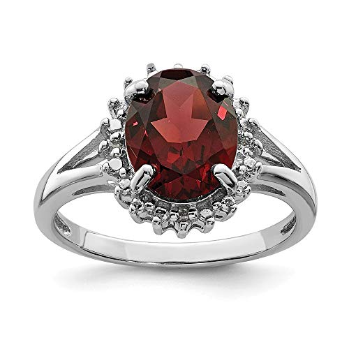 925 Sterling Silver Red Garnet Diamond Band Ring Size 7.00 Stone Gemstone Fine Jewelry Gifts For Women For Her