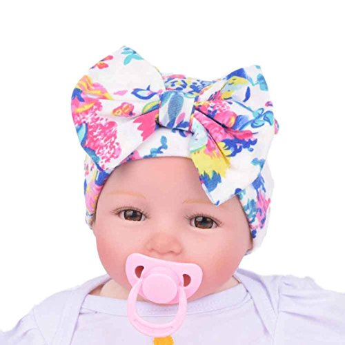 Gillberry Newborn Hospital Hat Newborn Baby Hats With Flower Bowknot Flower Hat (White)