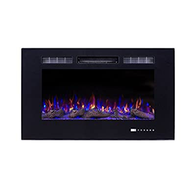 Flameline Electric Fireplace Insert,Freestanding & Recessed Electric Stove Heater,Touch Screen,Remote Control,750W-1500W,Black