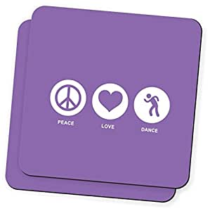 Rikki Knight Peace Love Dance Violet Color Design Soft Square Beer Coasters (Set of 2), Multicolor