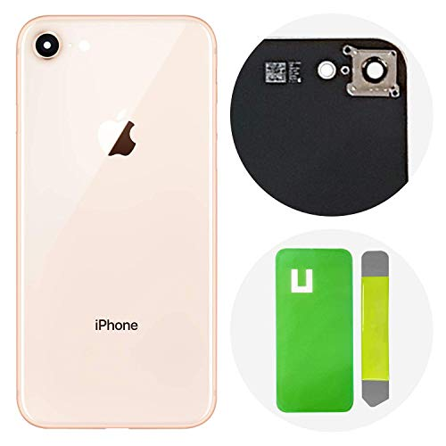Back Glass Cover OEM Battery Door Replacement w/Adhesive, Installed Camera Frame w/Lens for Apple iPhone 8 (Gold)