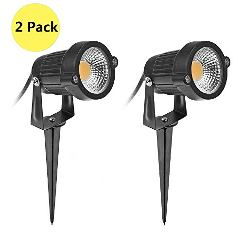 LemonBest LED Landscape Spotlight Outdoor 5W Low Voltage (AC/DC 12V) Waterproof Graden Lights COB LED Spotlight with Spiked Stand for Lawn, Patio, Garden Pathway Warm White, 2 Packs