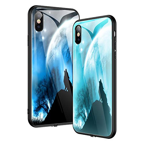 NASKY iPhone Xs max Case, Light Will Flash in with The Music,Ultra Thin Tempered Glass Smart iPhone Cover Case (Wolf)