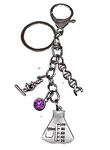 FTH Pathologist, Microbiologist,Chemist,Hematologist,or Medical Technologist Stainless Steel Keychain with DNA Double Helix,Beaker, Microscope,& Purple Crystal.Unique Gift Will Not be Duplicated