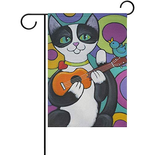 Cat Playing The Ukulele Double Sided Polyester Garden Flags Flag Banner 12x18 Inches Welcome Yard Flag Holiday Outdoor Indoor -