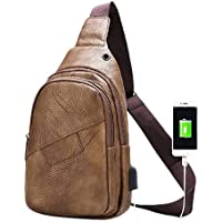 Almaar - Fashionable Chest Sling Crossbody Light Weight Leather Bag For Both Men and Women Traveling and Daily Use…