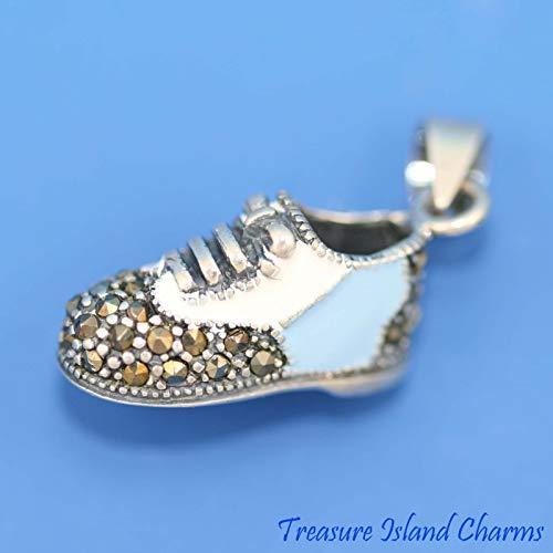 White and Blue Enamel & Marcasite Baby BOY Shoe 3D .925 Pendant