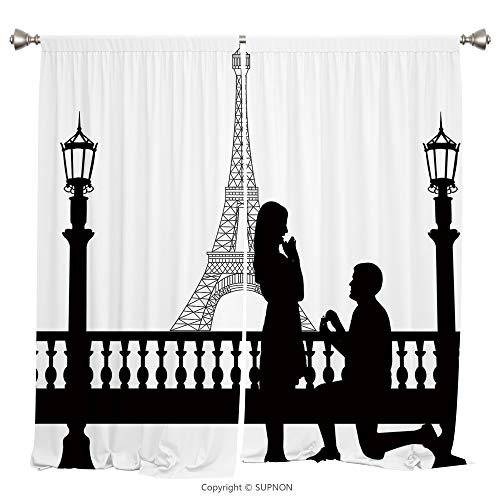 Rod Pocket Curtain Panel Thermal Insulated Blackout Curtains for Bedroom Living Room Dorm Kitchen Cafe/2 Curtain Panels/108 x 108 Inch/Engagement Party Decorations,Paris Lovers City Wedding Proposal f -