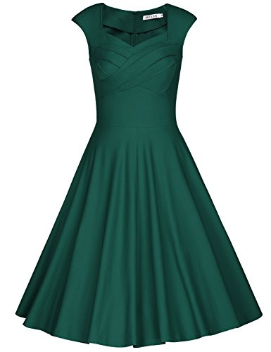 MUXXN Women Classy Sleeveless Ruched Fit and Flare Cocktail Dress (S Dark Green)