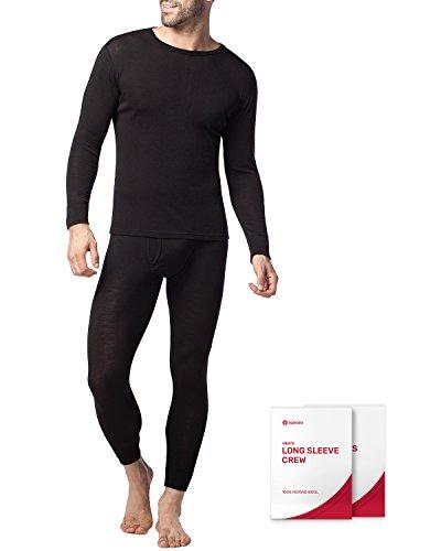 LAPASA Mens 100% Merino Wool Thermal Underwear Long John Set Lightweight Base Layer Top and Bottom M31