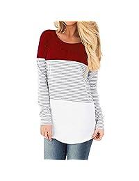 Vanvler Nursing Breastfeeding Tops Maternity Long Sleeve Striped Blouse Mom Pregnant Layered Shirt