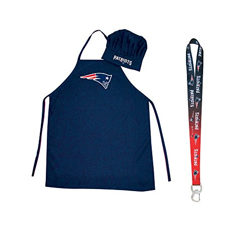 Pro Specialties Group New England Patriots NFL Barbeque Apron and Chef's Hat with Bottle Opener