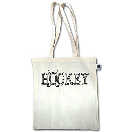 Eishockey - Hockey Schriftzug - Unisize - Natural - XT600 - Jutebeutel lange Henkel o5aoWg8