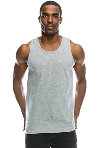 JC DISTRO Mens Hipster Hip Hop Basic Running Solid HGREY Tank Top - Top Running Mens