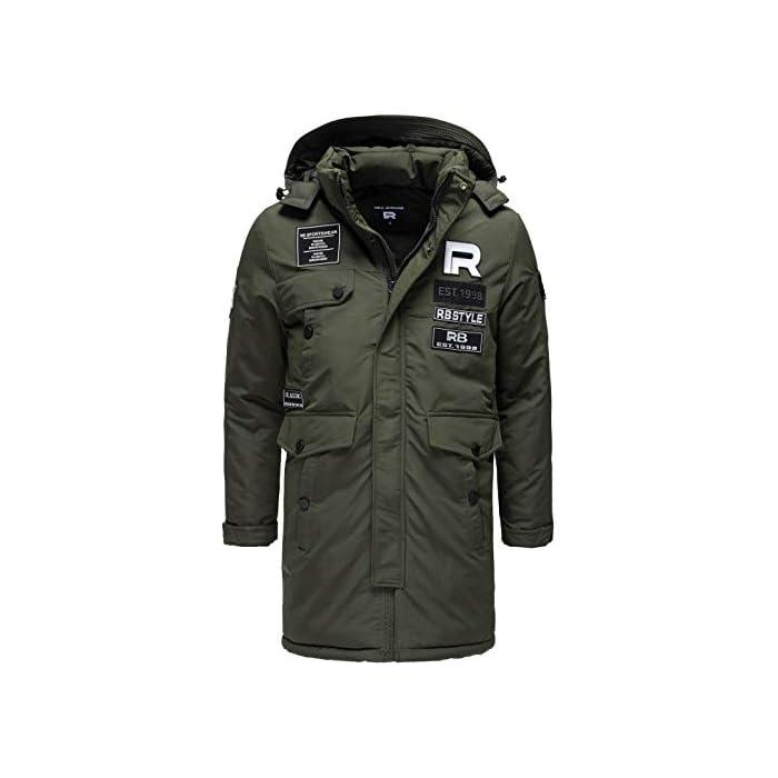 41AUavWR9iL Abrigo   Parka de invierno para hombres de la marca Redbridge Chaqueta de invierno cálida y moderna con capucha extraíble y muchos bolsillos prácticos 100% Poliéster