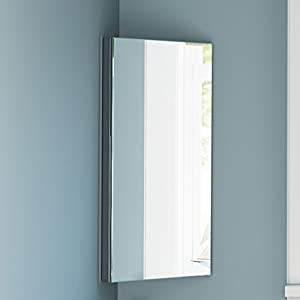 Stainless Steel Corner Bathroom Mirror Cabinet Modern Storage Unit MC101