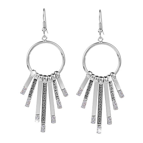 XZP Women's Hoop Chandelier Dangle Earrings for Women Sterling Silver Plated Round Circle Tassel Earrings (Silver)