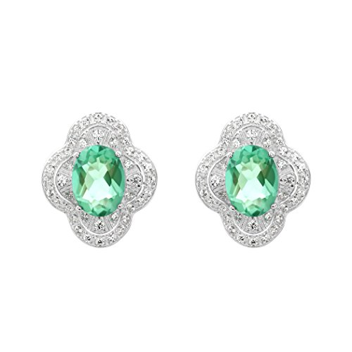 ICELEA Oval Green Amethyst Contemporary Silver Stud Earring (Ea Gam)