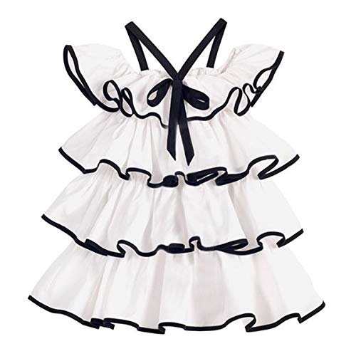- Qiylii Flower Girl Toddler Kids Off Shoulder Layered Ruffle Cake Dress Princess Dresses Outfit (White, 4-5T)