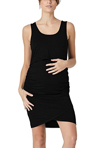 (Pink Queen Women's Sleeveless Scoop Neck Maternity Robe Nursing Dress S)