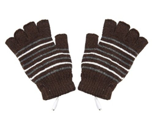 Stripe Pattern USB2.0 Heated Fingerless Gloves (Brown) + Envio mundial gratuito Tanboo