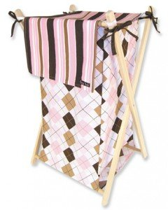Prep School Pink Argyle Collapsible Baby Girl Hamper Set Nursery